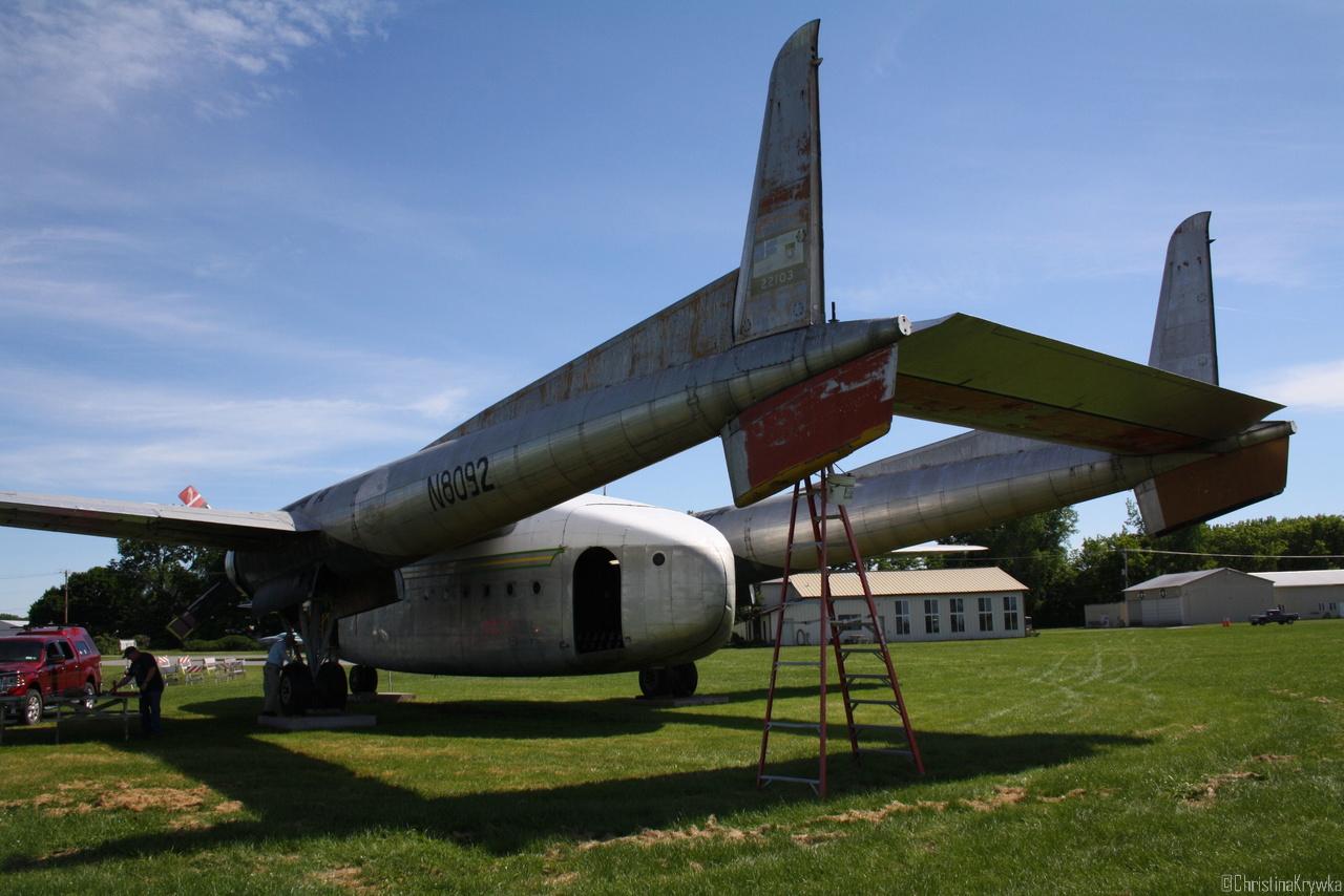 """Fairchild C119, heißt offiziell """"Fliegender Güterwagon"""""""